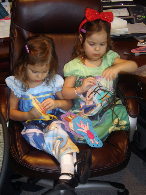 starting young my girlies are sewing with laces and paper :)